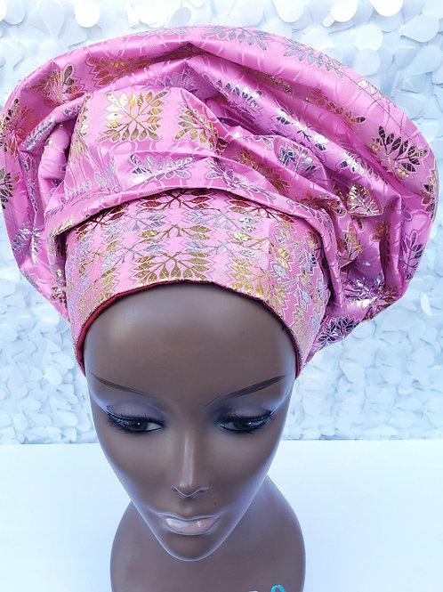 Floral Gele Hat in Pink