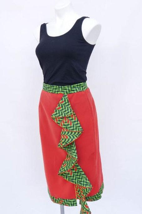 Nistz Skirt In Red With Belt