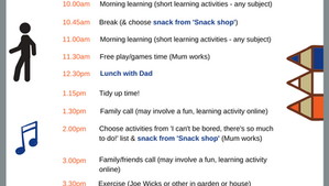 My revised Sanity Saver Schedule in case of lock down (what a difference a week and a half makes!)