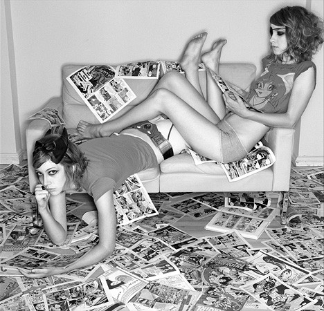 two girls lounging - comics&laughter