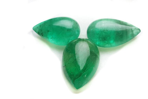 13.20 Cts Natural zambian Emerald 3 pcs set pear shape for jewellery