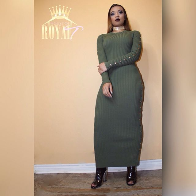 #newarrivals at #houseofroyaltboutique #olivegreendress #goldbuttons Model_Leilani _Hair_ _texast71