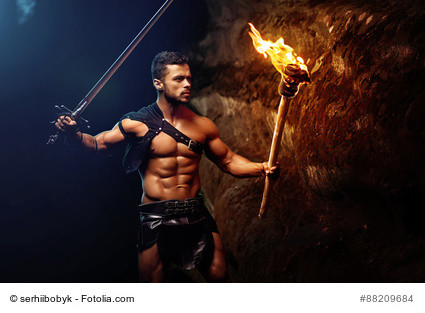 warrior with sword and fire
