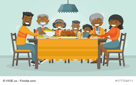 ogetherness does not require sameness Christmas and Thanksgiving-inspired winter Holiday card with African family enjoying Thanksgiving turkey at the table.