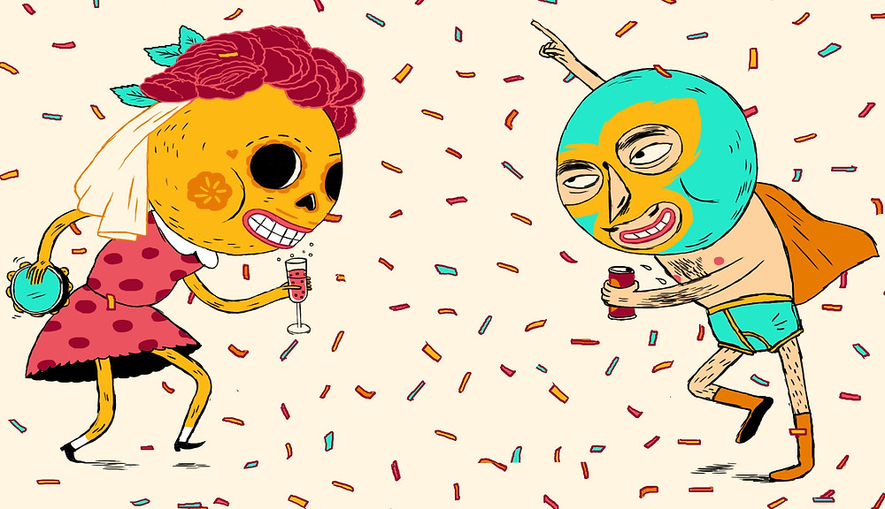 Day of the dead and wrestling cartoon figures drinking and dancing