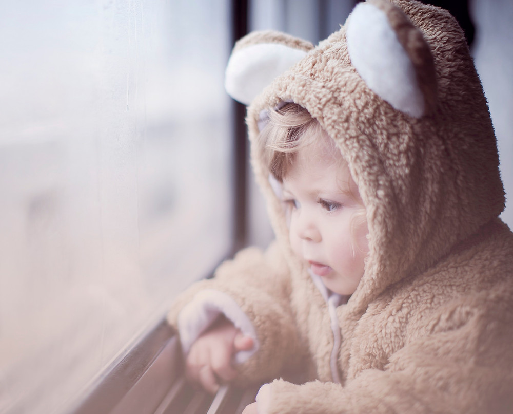 Toddler in a very animal suit staring sadly out the window.
