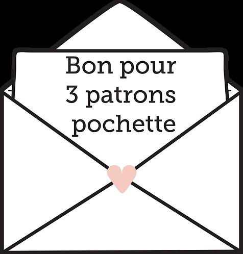 CARTE CADEAU 3 PATRONS POCHETTE