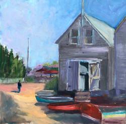 Boathouse with figure