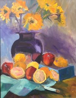 Blue Vase with Mixed Fruit