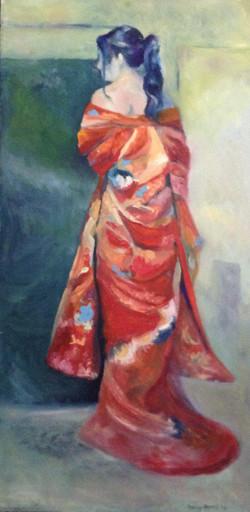 Lady in Red Kimona