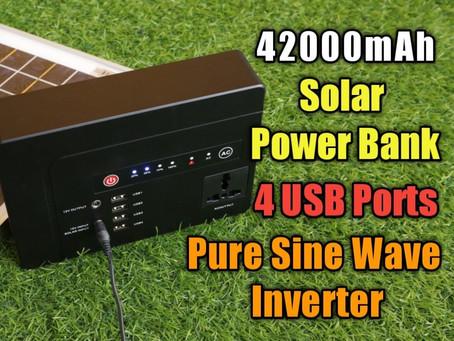 Lightest 42000 mAh Solar Powerbank with Pure Sine Wave Inverter