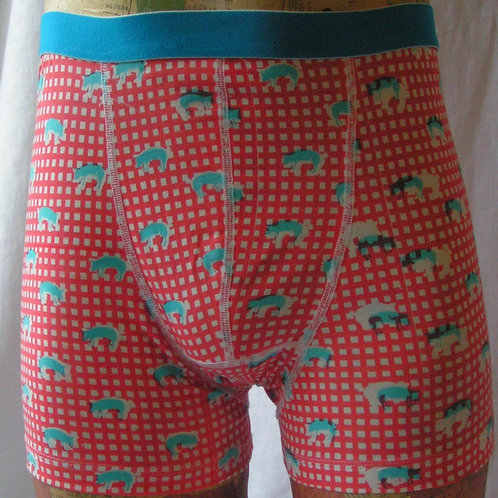 Pigs on Gingham boxer shorts