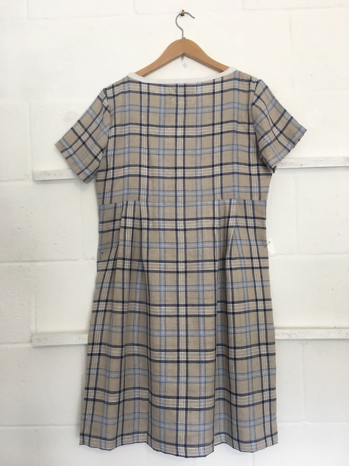 Blue/white/ beige checkered weave linen dress size 14