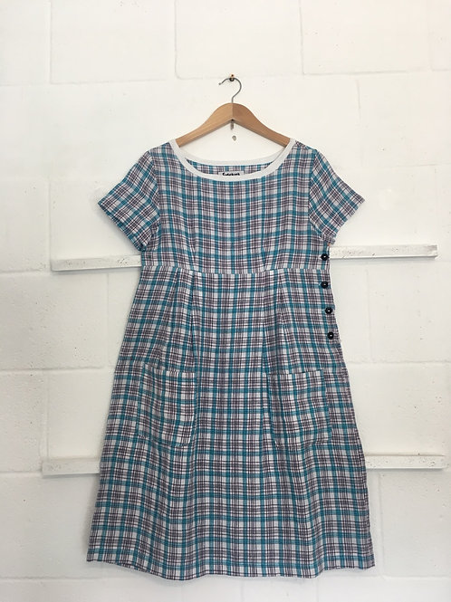 Blue/pink/white checker tea dress size 8
