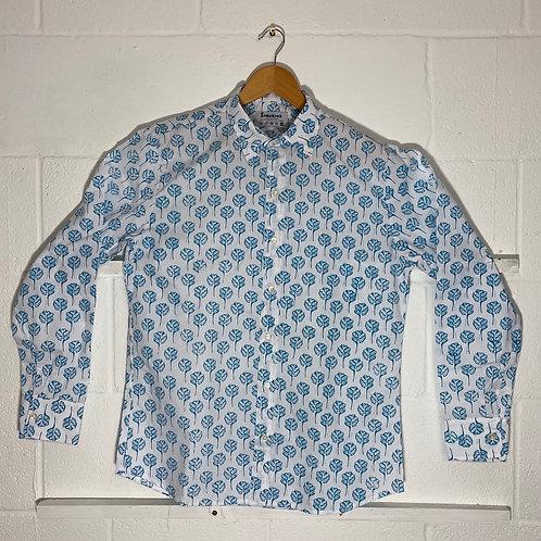Blue tree print shirt