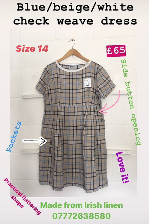 Blue/white/ beige checkered weave linen dress size 14