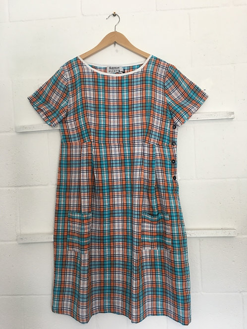 Light blue/orange checkered weave linen dress size14