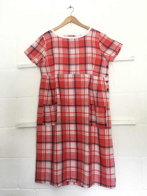 Red checker weave dress size 16