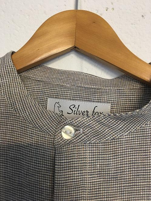 Silverfox grey Gingham grandad linen shirt. Size 42 & 38