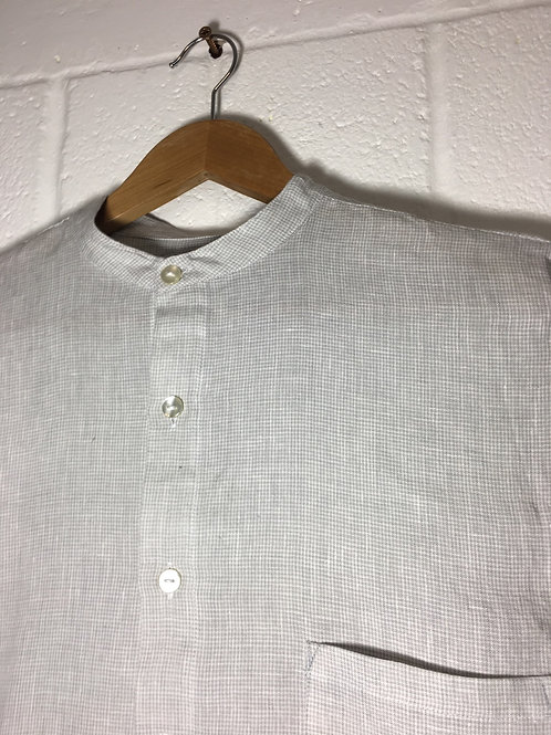 Soft grey/white mini check Silverfox linen shirt size 38""