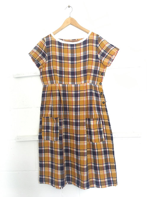 Navy/yellow checkered weave linen dress size 10