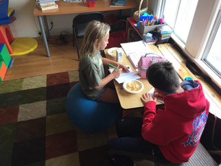 Improving core stability and handwriting during a speech therapy group