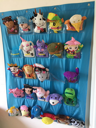 Hand puppets can be used to support speech development
