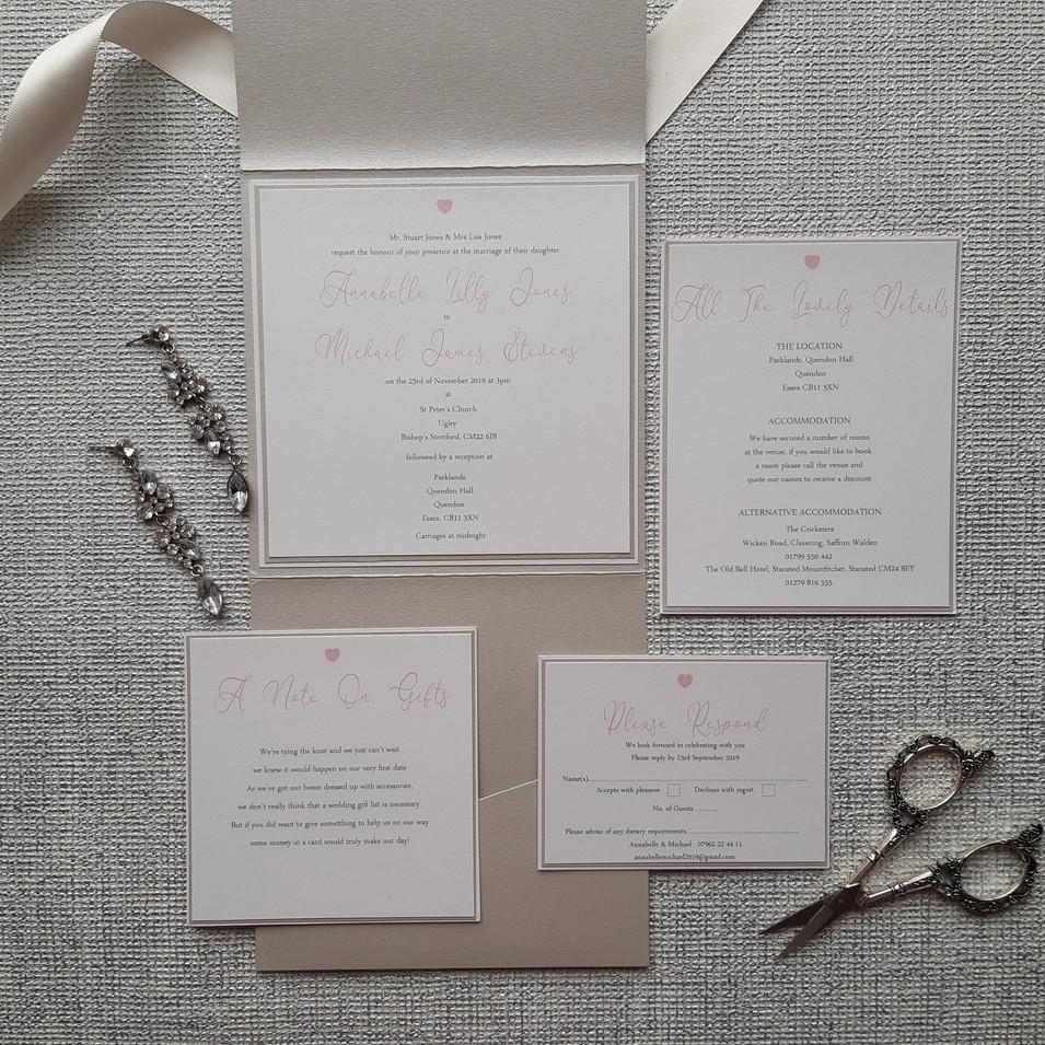 Dior - Pale Silver Pocketfold Wedding Invitation