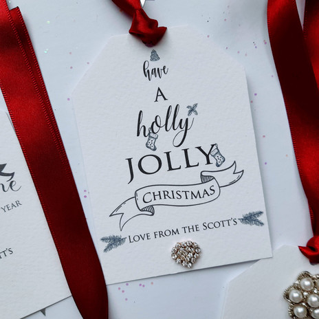 Beautiful Christmas Tags With Crystal Heart