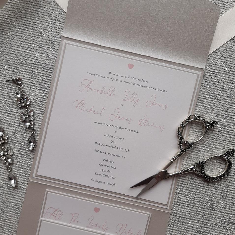 Dior - Pale Silver Pocketfold Wedding Invitation - Wording