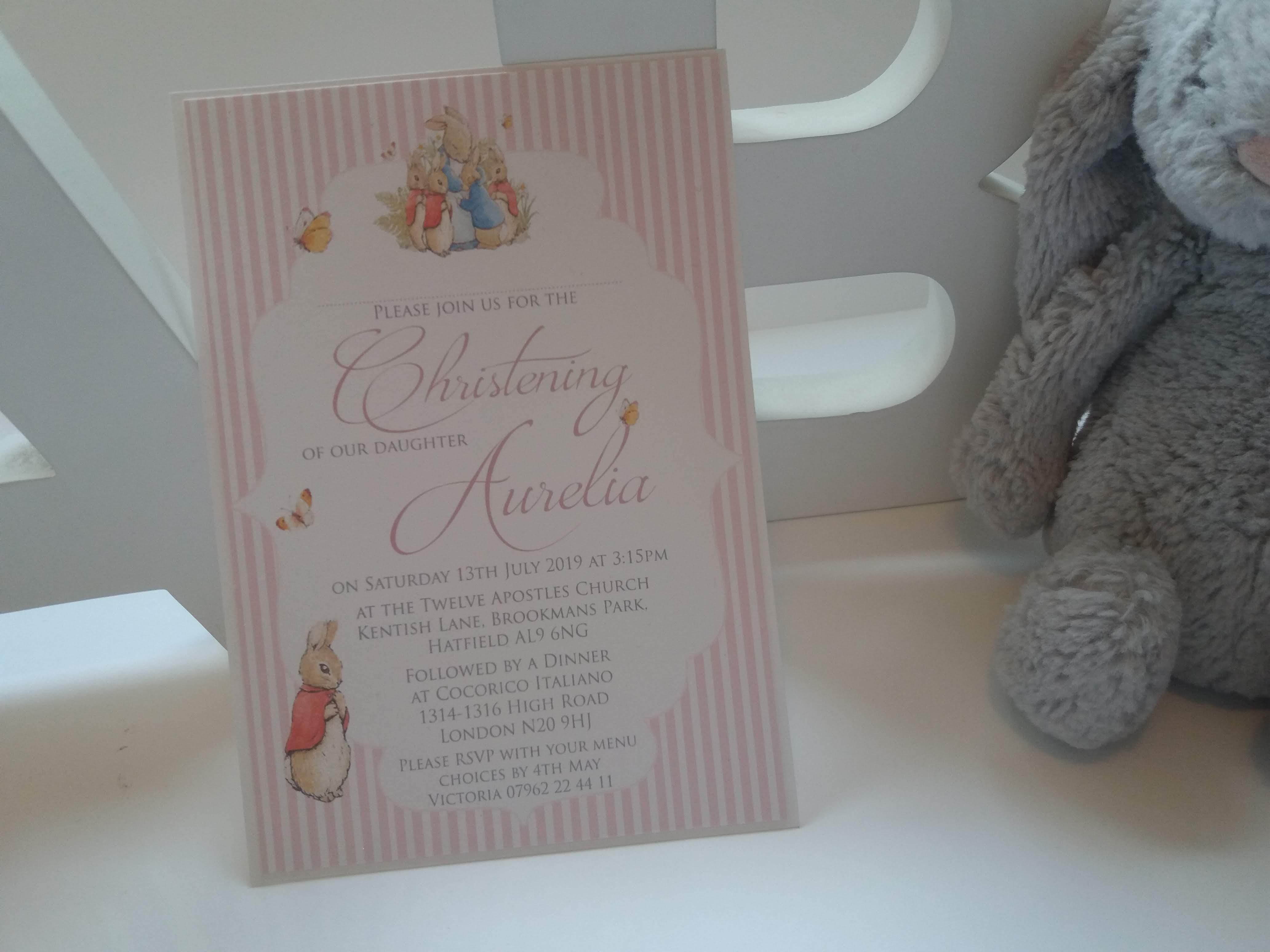 Peter Rabbit Christening Invite