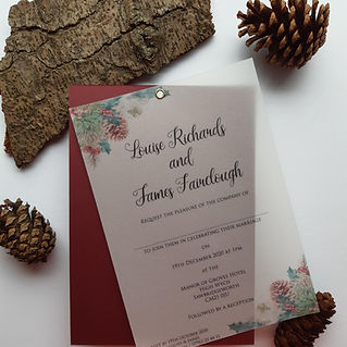 Christmas themed wedding invitation. Christmas print on vellum paper