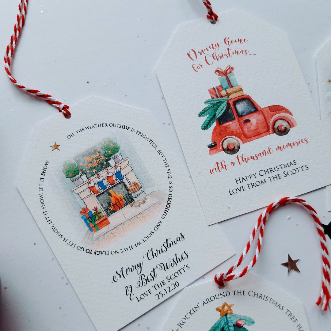 Personalised traditional Christmas gift tags