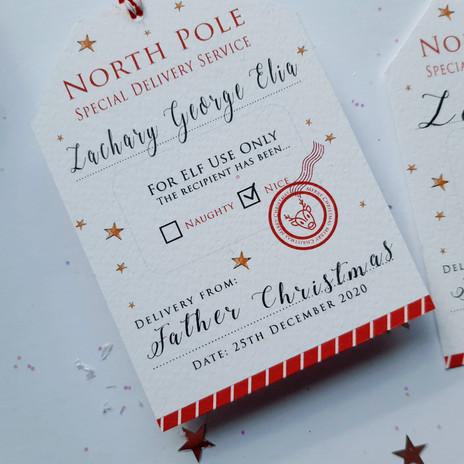 North Pole Christmas Tag