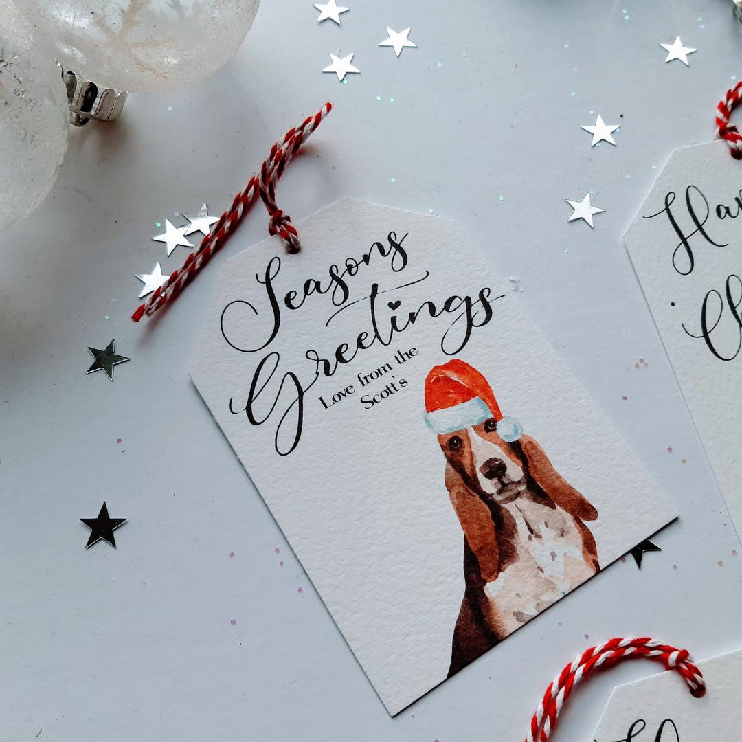Christmas Gift Tag - Bassett Hound Dog
