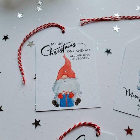 Christmas Gift Tag with Gnome