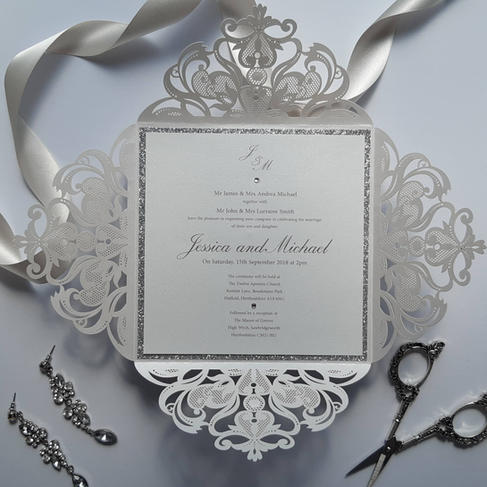 Full view of Dorothy lasercut wedding in