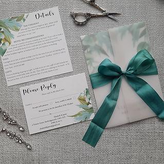 Teal Silk Ribbon Wedding Invitation