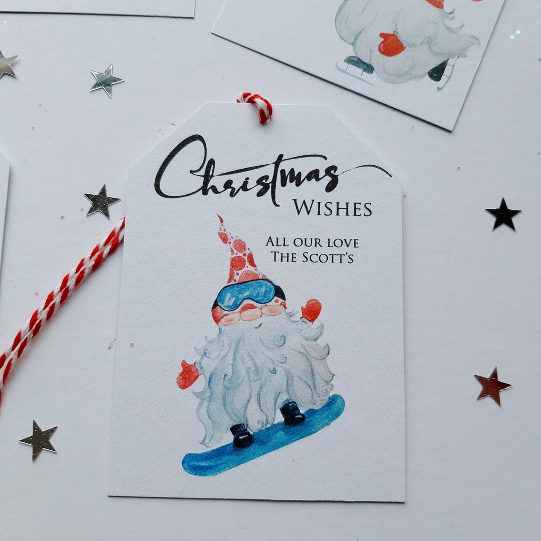 Snowboarding Christmas Gnome Gift Tag