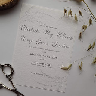 Wedding invitation with grass print