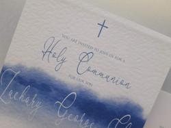 Simplistic watercolour blue invite
