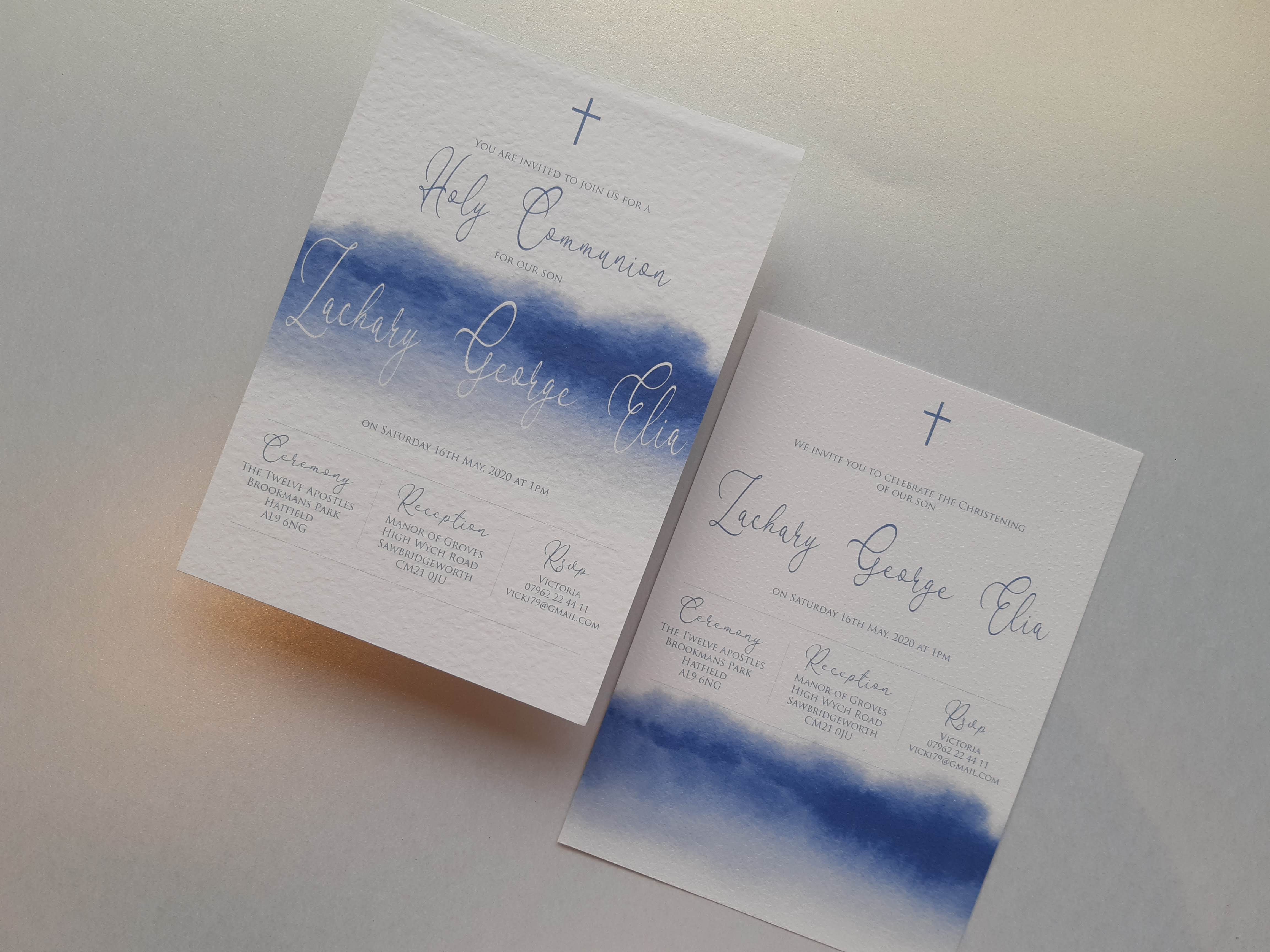 Simplistic watercolour blue invite