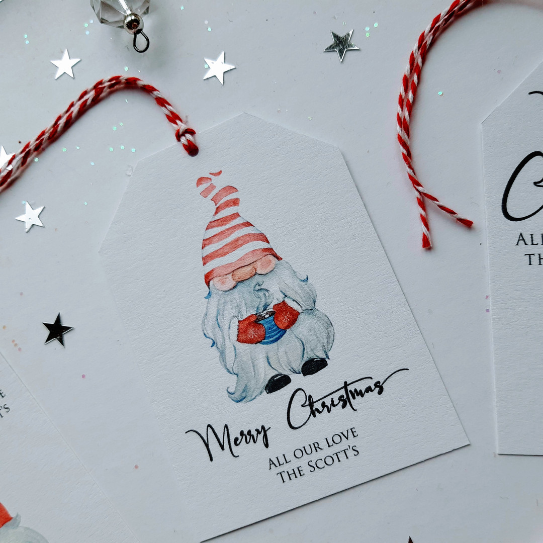 Christmas Gift Tag with Gnome