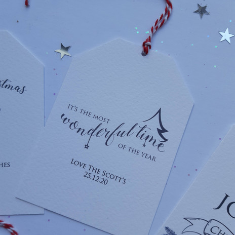 'It's the most wonderful time of the year' luxury gift tag