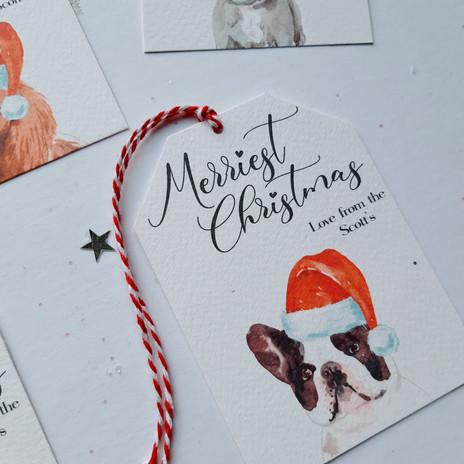 Christmas Dog Gift Tags - Boston Terrier
