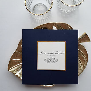 Navy and Gold Pocketfold Invitation
