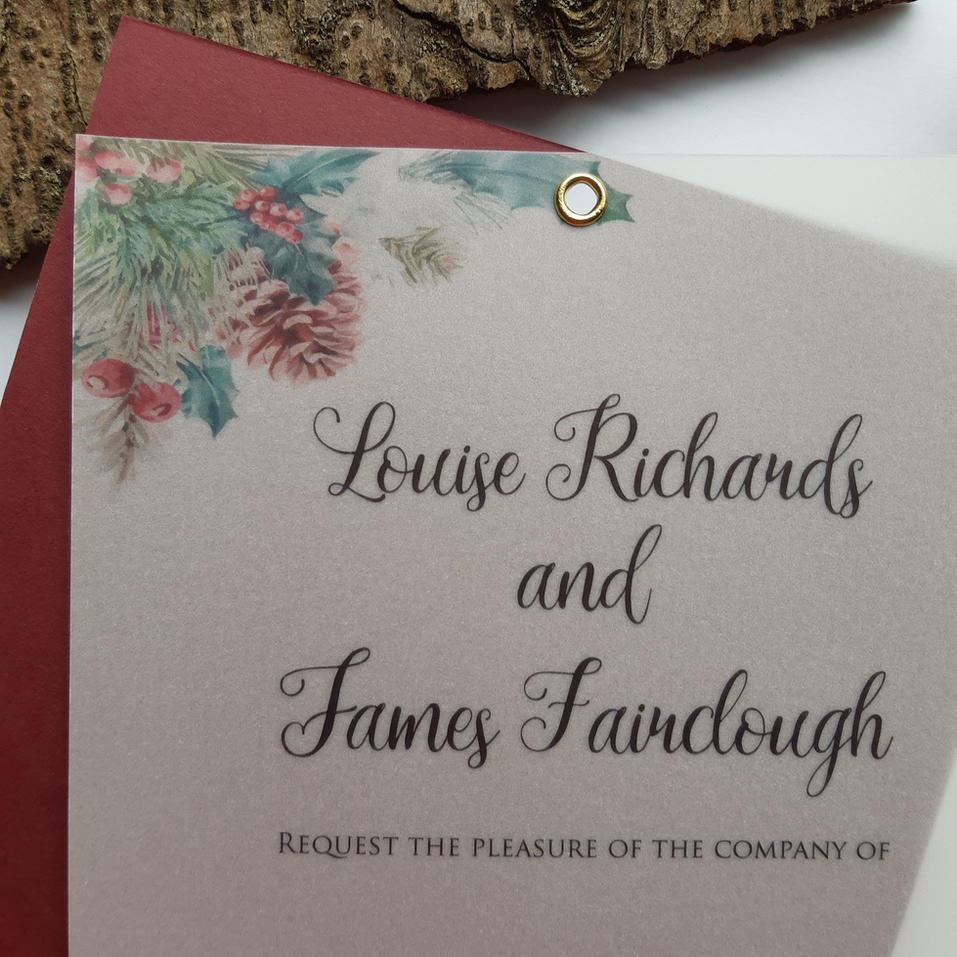 Noel Wedding Invite - Vellum and Burgundey Matt Card Close Up