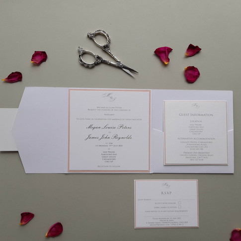 Megan - white wedding pocketfold with 2 inserts