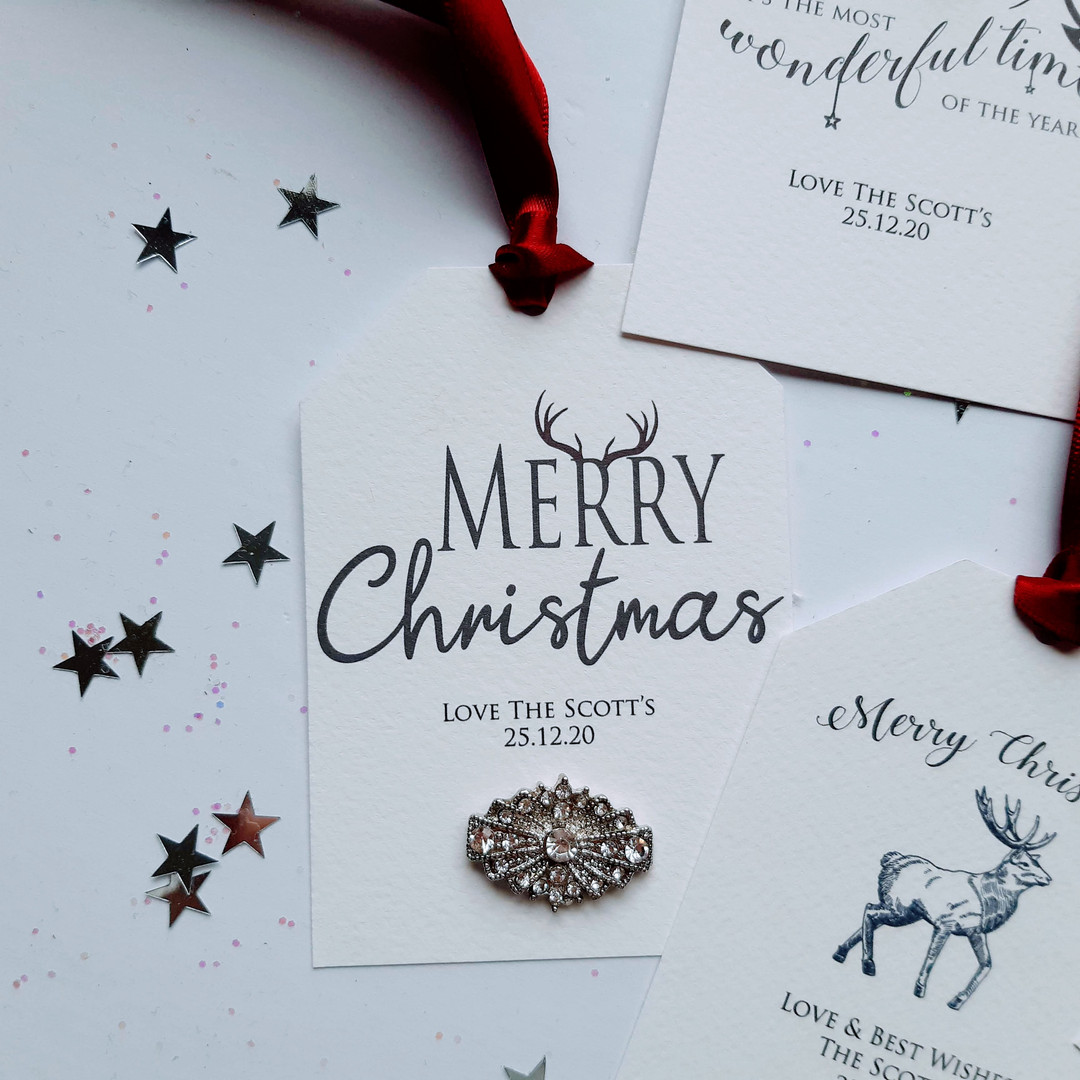 Luxury Christmas Gift Tag with Crystal Embellishment