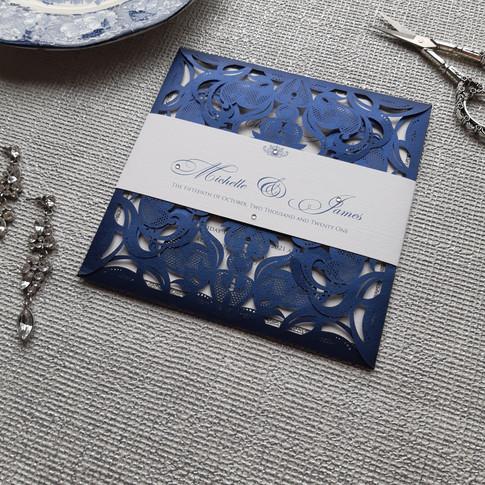Stephanie Navy Lasercut Wedding Invitati